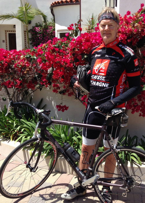 Bruce with his bike in Santa Barbara